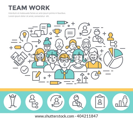 Team work concept illustration thin line flat design - stock vector
