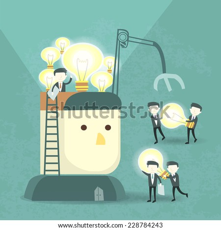 team work concept with bulb and businessmen elements - stock vector