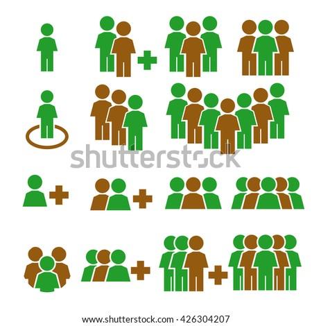 team work, crowd icon set - stock vector