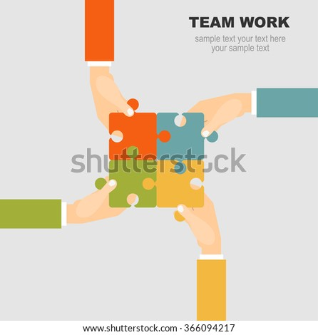 Team Work Flat Concept Vector Illustration.Concept for web banner and promotional material. - stock vector