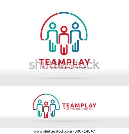 Team Work Play Logo. Community sign. Unity symbol. Team work company. Public organization. Good relationship colleagues. - stock vector