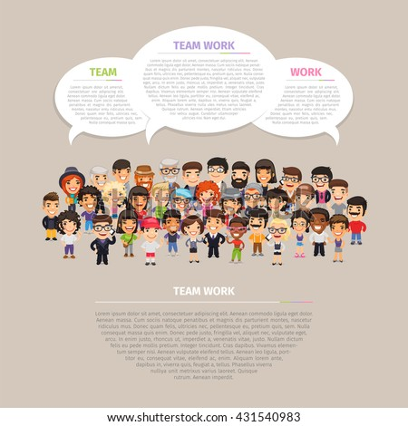 Team work poster with big group of casually dressed flat cartoon people. Clipping paths included. - stock vector