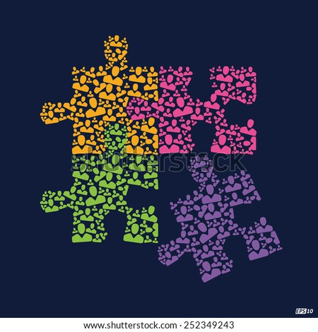 Team Work puzzle illustration or Great Team - stock vector