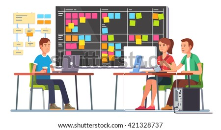Team working together on a big IT startup business. Programming and planning. Scrum task board hanging in a team room full of tasks on sticky note cards.  Flat style color modern vector illustration. - stock vector