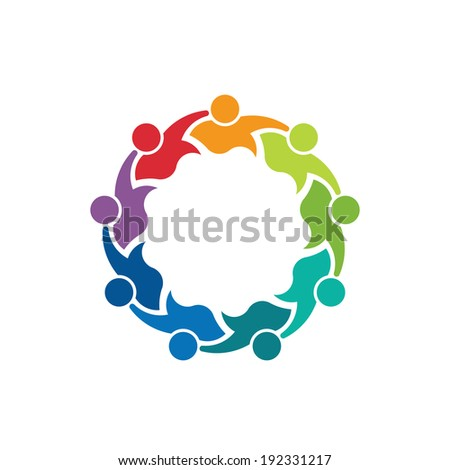 Teammates Business 9 person image. Concept of teamwork, children group, association. Vector icon - stock vector
