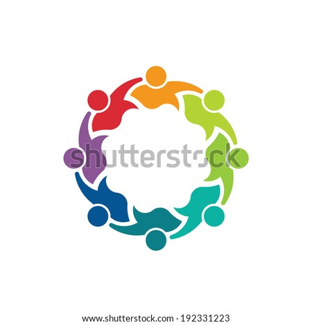 Teammates Business 8 person image. Concept of teamwork, children group, association. Vector icon - stock vector