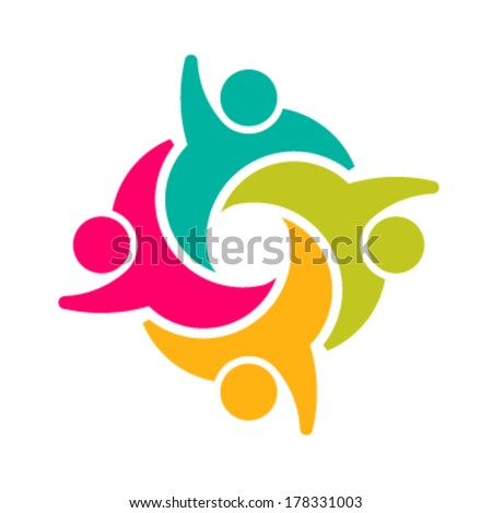 Teammates Social group of people 4 - stock vector