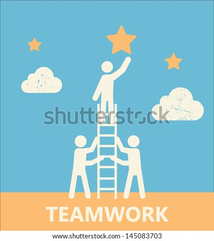 Teamwork and Cooperation Motivational Poster. Contains clipping mask - stock vector