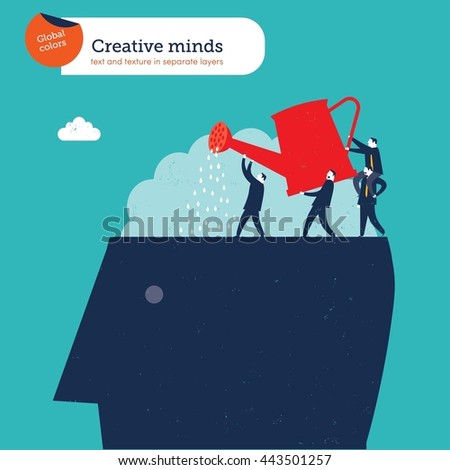 Teamwork and creative ideas. Vector illustration Eps10 file. Global colors. Text and Texture in separate layers. - stock vector