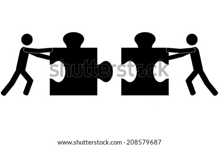 Teamwork and puzzle. It is a stick figure vector. EPS 10  - stock vector