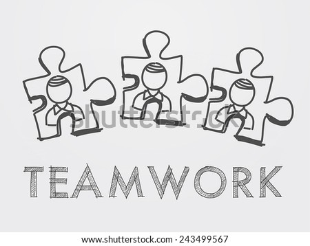 teamwork and puzzle pieces with person signs over white background, business team building concept - stock vector