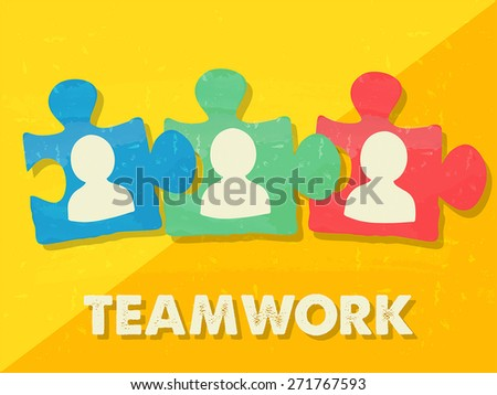 teamwork and puzzle pieces with person signs over yellow background, grunge flat design, business team building concept, vector - stock vector
