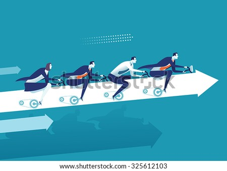 Teamwork. Business illustration - stock vector