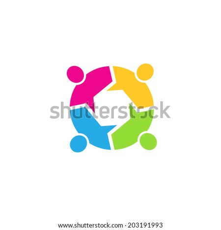 Teamwork Call out 4 people image. Concept of information, info graphic, community. Vector icon - stock vector