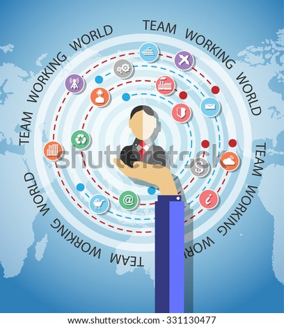TEAMWORK COMMUNICATION CONCEPT ART PEOPLE FLAT STYLE WORLD  BUSINESS - stock vector