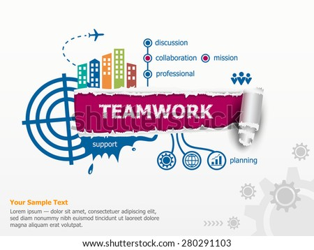 Teamwork concept and breakthrough paper hole with ragged edges. Communication in the global computer networks - stock vector