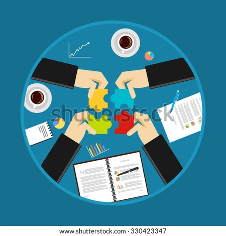 Teamwork concept. Business solution concept. Business background. - stock vector