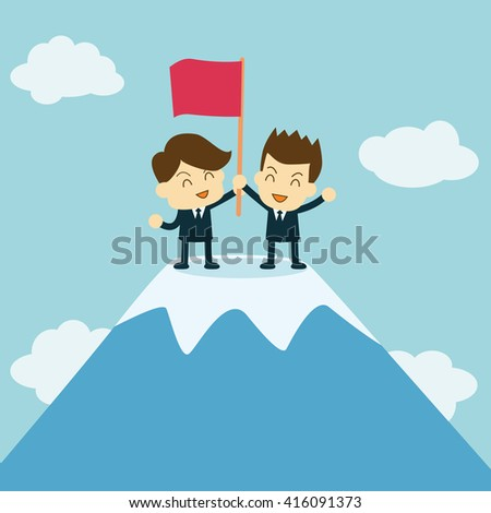 teamwork concept. businessmen stand on the top of mountain - stock vector
