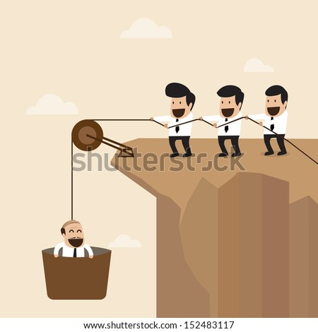 Teamwork concept : Businesspeople help to pull another from bottom of cliff - stock vector