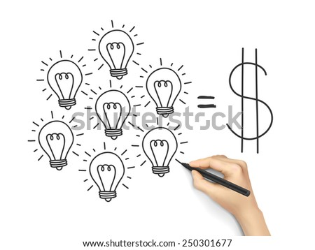 teamwork concept drawn by hand isolated on white background - stock vector