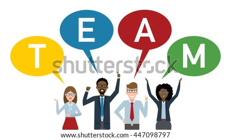 Teamwork concept. Four businessmen with colorful speech bubbles teamwork. Success in business, career and communication. Happy partership helps find solution and achieve success. - stock vector