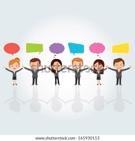 Teamwork concept. Vector illustration of a group of International business people holding hands with chat or thinking bubbles.  - stock vector