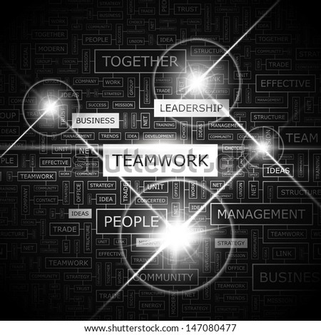 TEAMWORK. Concept vector illustration. Word cloud with related tags and terms. Graphic tag collection. Wordcloud collage.  - stock vector