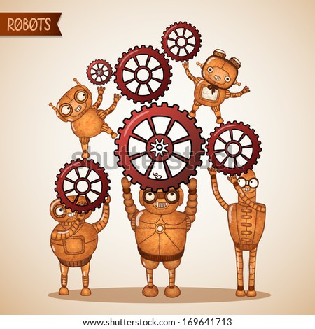 Teamwork concept with cogs and gears vector illustration - stock vector