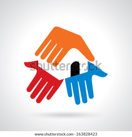 Teamwork concept with house icon - stock vector