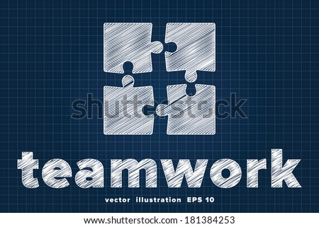 Teamwork concept with puzzle pieces sketched on blueprint - stock vector