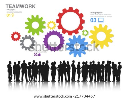 Teamwork Concept with Silhouettes of Business People Working and Gears - stock vector
