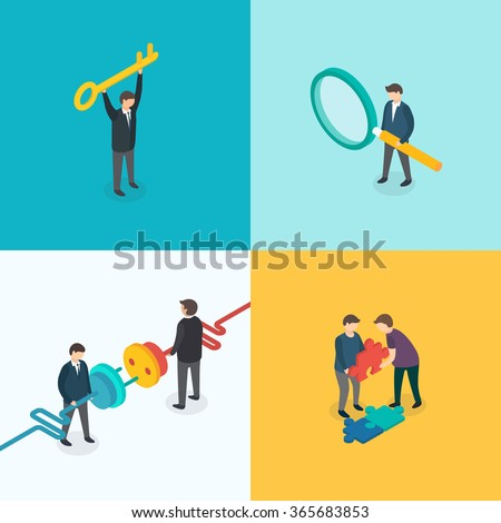 Teamwork, Connection, Key solution, Search concept. Isometric 3d vector set - stock vector