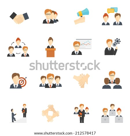 Teamwork corporate organization icons flat icons set isolated vector illustration - stock vector
