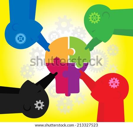 Teamwork : Creating idea - stock vector