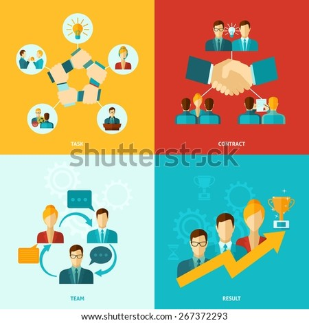 Teamwork design concept set with task contract team results flat icons isolated vector illustration - stock vector