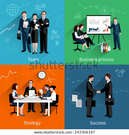 Teamwork design concept set with team business process strategy and success flat icons set vector illustration - stock vector