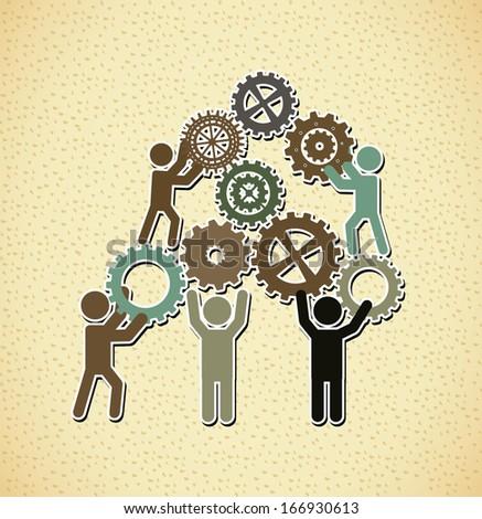 teamwork design over pattern background vector illustration  - stock vector