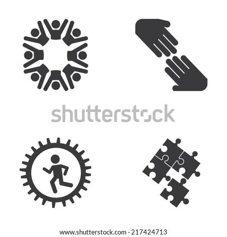 teamwork design over white background vector illustration - stock vector