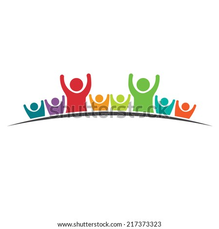 Teamwork Eight Friends image. Concept of Group of People, happy team, victory.Vector icon - stock vector