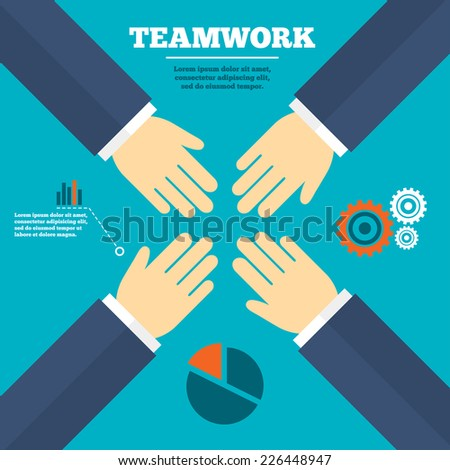 Teamwork flat design. Consulting or brainstorming idea. Infographics elements. Business strategy. Vector - stock vector
