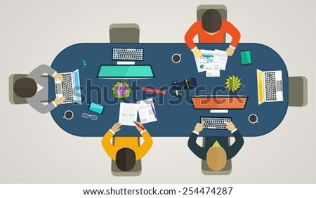 Teamwork for computers online. Business strategy, development projects, office life, working weekdays - stock vector