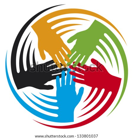 teamwork hands icon (together icon,  hands connecting symbol, people connected icon) - stock vector