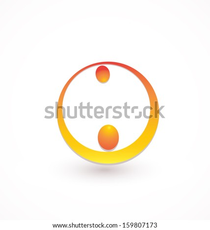 Teamwork helping icon - stock vector
