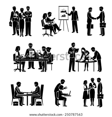 Teamwork icons black set with business people and organized group activity isolated vector illustration - stock vector