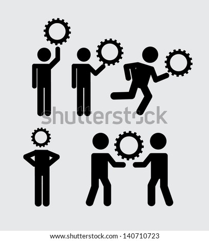teamwork icons over white background vector illustration - stock vector