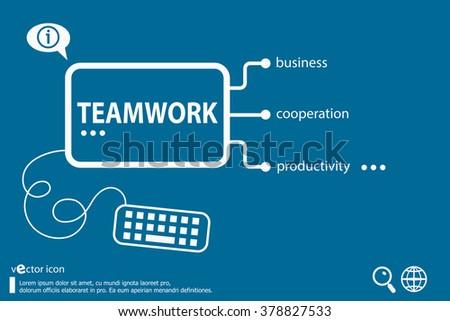 Teamwork idea word cloud concept, business concept - stock vector