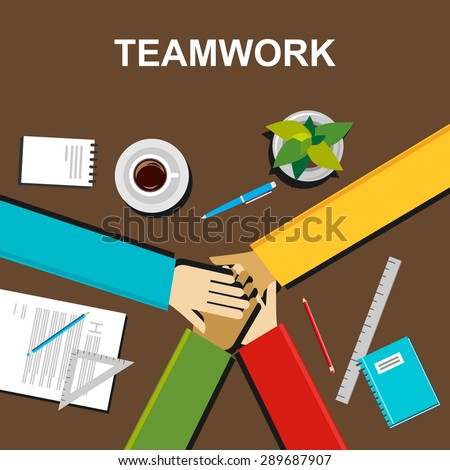 Teamwork illustration. Teamwork concept. Flat design illustration concepts for teamwork, team, meeting, discussion, working, business, career, planning, development, brainstorming, strategy. - stock vector