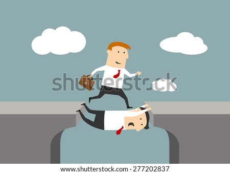 Teamwork in business concept with one businessman stretching himself across a void between two cliffs to allow a second to cross over - stock vector