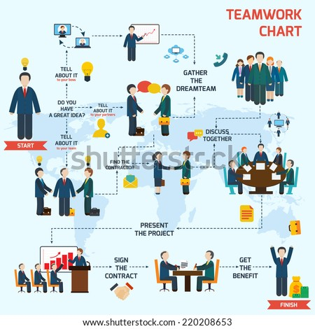 Teamwork infographic set with business avatars and world map vector illustration - stock vector