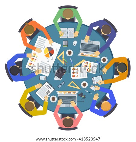 Teamwork meeting start up concept people vector. Teamwork people business together unity men and teamwork people meeting communication. Teamwork people partnership support brainstorming. - stock vector